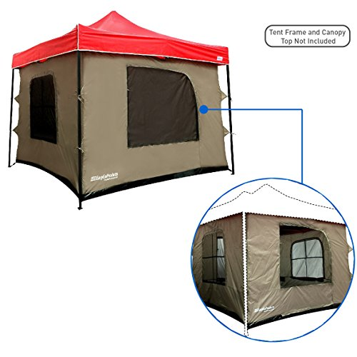 Price comparison product image Camping Tent attaches to any 10'x10' Easy Up Pop Up Canopy Tent with 4 Walls, PVC Floor, 2 Doors and 4 Windows - Vented Roof - Standing Tent - Family Room Tent - TENT FRAME AND CANOPY NOT INCLUDED