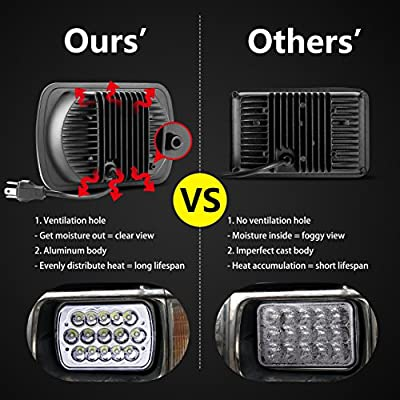 DITRIO Rectangular LED Headlights 7x6 2PCs 45W Hi//Low LED IP67 Waterproof Versatile and Compatible with Jeep Wrangler Sealed Beam Type Cherokee Ford Truck Chevy Models Sedans also 5x7