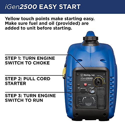 Westinghouse iGen2500 Portable Inverter Generator - 2200 Rated Watts & 2500 Peak Watts - Gas Powered - CARB Compliant by Westinghouse (Image #5)