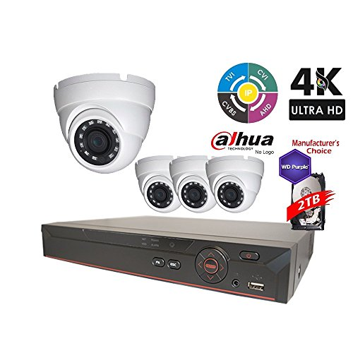 Dahua OEM Penta-brid 1080P Security Package: 8CH 1080P Penta-brid XVR5108 5 in 1 (CVI TVI AHD IP and Analog) w/2TB Security Hard Drive+(4) 2MP Outdoor IR HDW1200 3.6MM Eyeball (NO LOGO Local Support) - Dome Kit Dual Ir