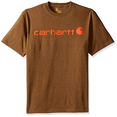 (Carhartt Men's Signature Logo Short Sleeve Midweight Jersey T Shirt Graphic, Barrel Heather, X-Large)