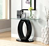 Furniture of America Modine Contemporary Glass Top Sofa Table, Black