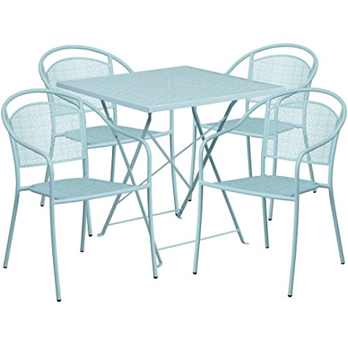 MFO 28'' Square Sky Blue Indoor-Outdoor Steel Folding Patio Table Set with 4 Round Back Chairs