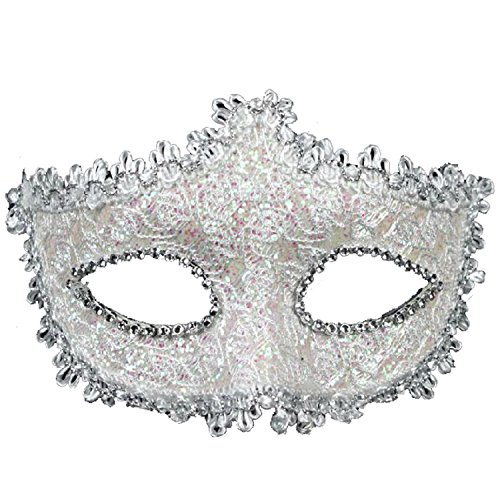 White Masquerade Mask (Geek-M Halloween Costume Lace with Rhinestone Venetian Mask Women Masquerade Mask White)