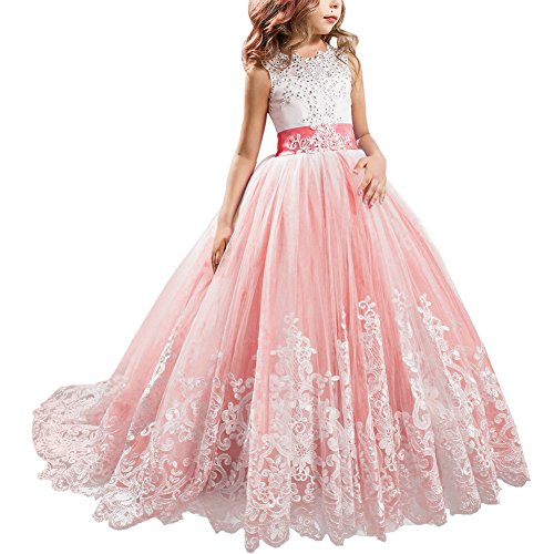 Little Big Girls' Flower Lace Princess Long Pageant Dresses Prom Tulle Ball Gown Wedding Bridesmaid Floor Length Dance Evening #A Pink 4-5 Years]()