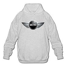 Mini Car Logo Men's Long Sleeve Hooded Sweatshirt Ash