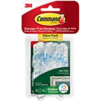 Command Outdoor Light Clips Value Pack, Clear, 32-Clips...