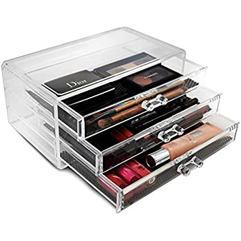 Sorbus® Acrylic Cosmetics Makeup And Jewelry Storage Case Display  3 Large  Drawers Space