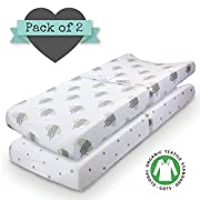 Changing Pad Cover - 100% ORGANIC JERSEY COTTON - 2 pack Unisex design Gray and White - Best baby shower gift Perfect for bassinet sheets for Boy or Girl 16X32 - by My Little North Star