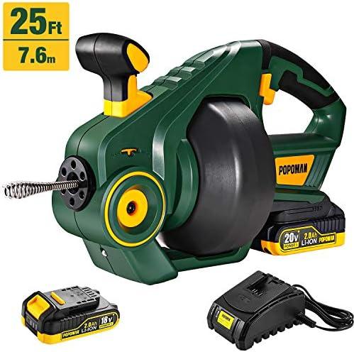 Drain Auger, POPOMAN Cordless Drain Hose 25Ft Automatic Electric Drain Unblocker, 20V MAX 2000mAh Li-Ion, Replaceable Flexible Shaft – MTW700B