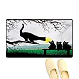 Bath Mat,Mother Cat on Tree Branch and Baby Kittens in Park Best Friends