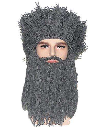 Kafeimali Men's Head Barbarian Vagabond Beanie Original Beard Hats Halloween Funny Winter Wig Caps (Mens Barbarian Wig)