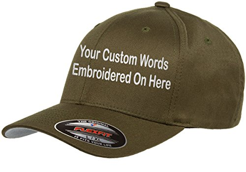 Custom Hat. Flexfit 6277 Embroidered. Your Own Text Curved Bill. (S/M, Olive)