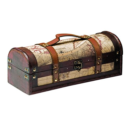 (Chateau 1 Bottle Old World Wooden Wine Box by Twine - (Wood, Faux Leather))