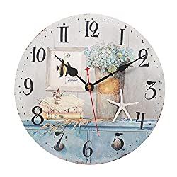 Pensenion 12 Inches Vintage Wooden Wall Clock Non Ticking for Home Decoration