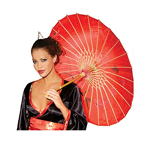 [Sexy Women's Parasol Adult Roleplay Geisha Costume Accessory, One Size, Red] (Dragon Lady Sexy Costumes)