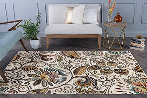 Giselle Transitional Floral Ivory Rectangle Area Rug, 5' x 7' ()