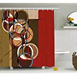 Modern Art Home Decor Shower Curtain by Ambesonne, Retro Surreal Abstract Circular and Square Shaped Art Lines on Murky Base, Fabric Bathroom Decor Set with Hooks, 70 Inches, Multi