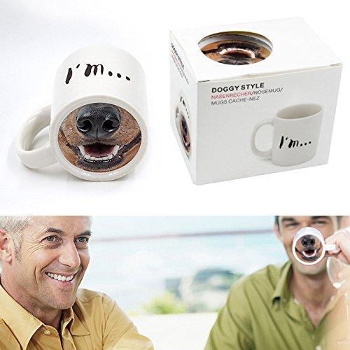 BigFamily Fun Dog Pig Nose Mug Cup Ceramic Creative Mark Beverage Laugh Tea Cups by BigFamily