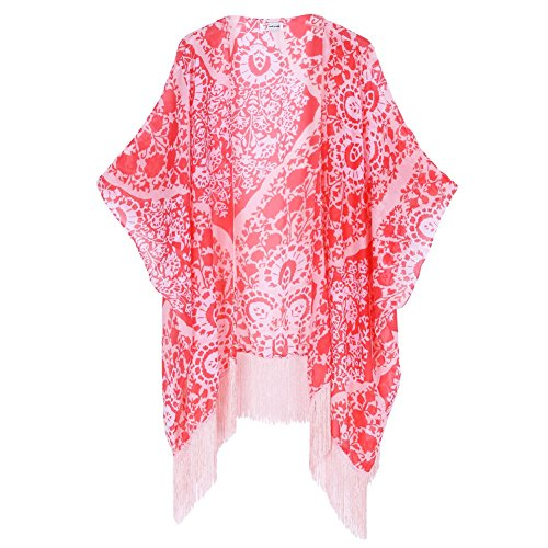 Mujeres Bikini Cover Up,Fucsia Kimono Bañador Playa Vestido Swimwear Talla única Rosa