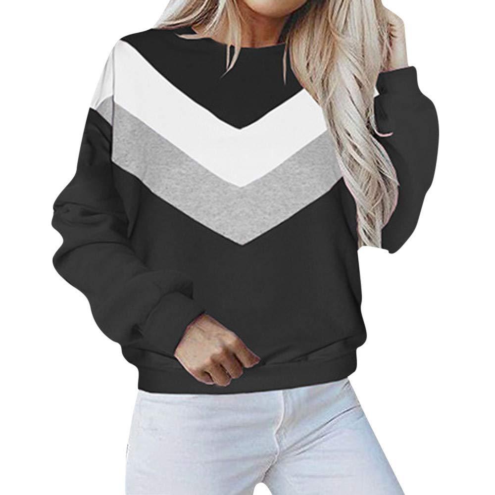 Kumike Fashion Women's Casual Long Sleeve O-Neck Patchwork Pullover Blouse Shirts Sweatshirt