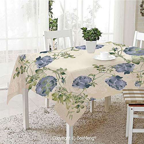 BeeMeng Spring and Easter Dinner Tablecloth,Vintage Style Roses Leaves Flower Framework Illustration Romantic Retro Design,Blue Green Cream59 x 83 ()