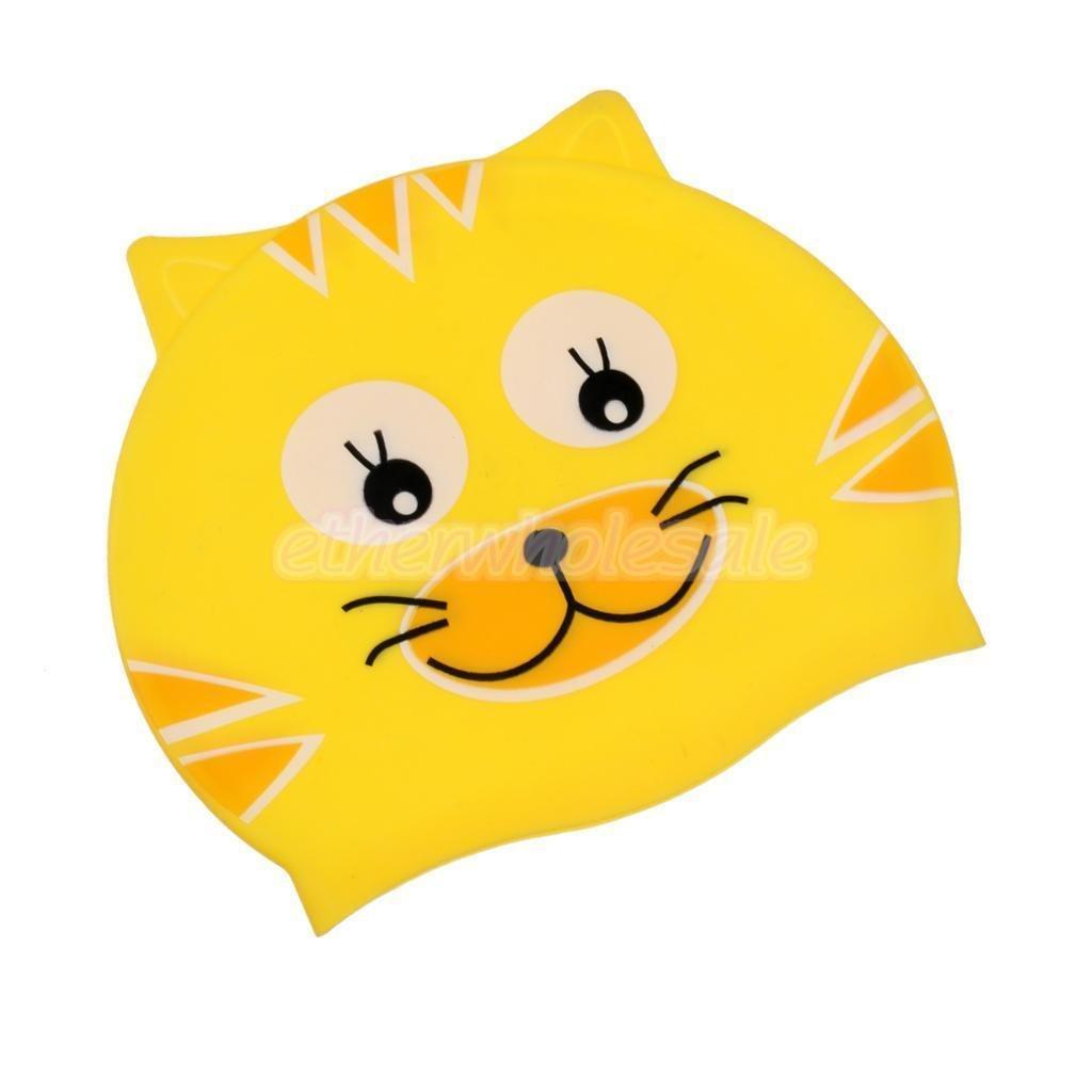 Kids Swim Cap (for Girls & Boys) - Keeps hair dry - Fits 4-12 year olds. Silicone. Fun, Yellow Cat #KittyKapz