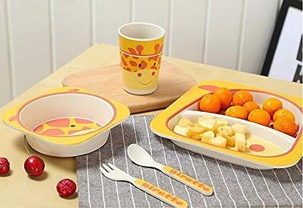 5-teiliges Geschirr-Set Teller, Sch/üssel, Tasse, Gabel, L/öffel Umweltfreundliche Bambus-Faser Kleinkind-Teller-Set mit Silikon-L/ätzchen weich, flexibel, pflegeleicht Sp/ülmaschinenfest