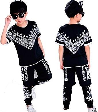 56079557018b6 Meet You キッズ ヒップホップ ダンス衣装 ダンスウェア 子供用 キッズ 男の子 女の子 tシャツ