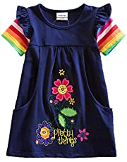VIKITA Toddler Flower Girl Dress for Kids Baby Cotton Short Sleeve Dresses in Summer for 2-8 Years