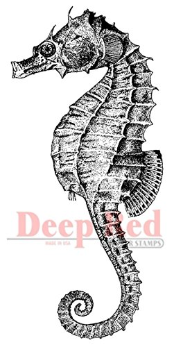 (Deep Red Stamps Seahorse Rubber Stamp)