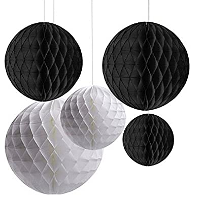 AllHeartDesires Pack of 6 Mixed Black White Party Tissue Paper Honeycomb Ball Wedding Bridal Shower Hanging Decoration
