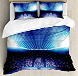 Sports Decor Duvet Cover Set by Ambesonne, Basketball Arena Court with Fans And Flashlights Competition Theme Game Excitement Print, 3 Piece Bedding Set with Pillow Shams, Queen / Full, Navy Black