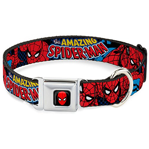 Dog Collar Seatbelt Buckle Amazing Spider Man 9 to 15 Inches 1.0 Inch -