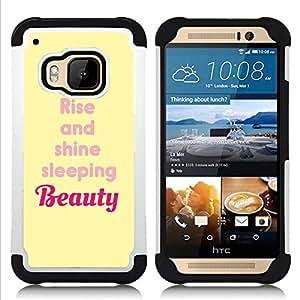 - beauty rise and shine yellow quote/ H??brido 3in1 Deluxe Impreso duro Soft Alto Impacto caja de la armadura Defender - SHIMIN CAO - For HTC ONE M9