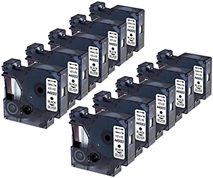 Nastro D1 45022 nero su argento 12mm x 7m Etichette compatibile per DYMO LabelManager LM 100 150 160 200 210D 260 280 300 350 350D 360D 400 420P 450 500TS PC PC2 PnP LabelWriter LW 400 450 Duo