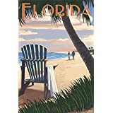 Adirondack Chairs and Sunset - Florida (24x36 Giclee Gallery Print, Wall Decor Travel Poster)