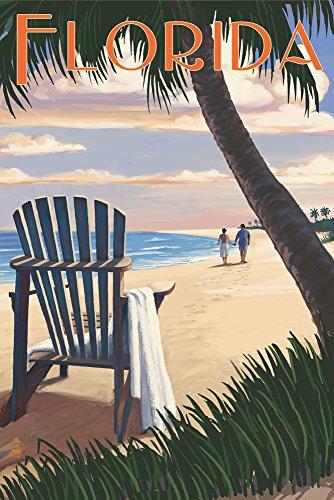 (Florida - Adirondack Chairs and Sunset (9x12 Art Print, Wall Decor Travel)