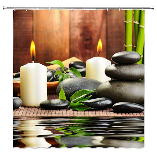 Lileihao Polyester Fabric Shower Curtain Spa Decor by, Mildew Resistant Bathroom Zen Garden Theme Decor View for Bathroom Magical Japanese Design Relaxation Bamboos Candles, Green Yellow