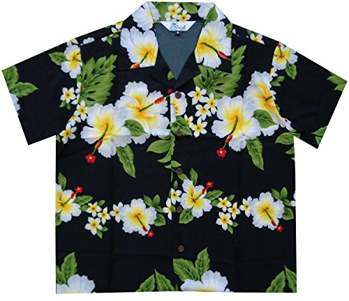 Alvish Hawaiian Shirts Boys Hibiscus Flower Print Beach Aloha Party Camp Short Sleeve