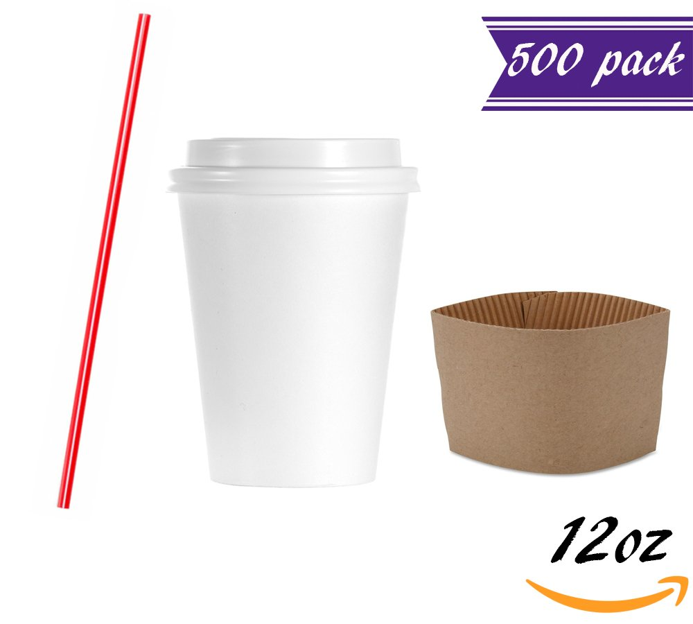 (Set of 500) 12 oz Disposable Coffee Cups with Dome Lids and Sleeves, BONUS Stirrers, White Paper Hot Cups with Lids Perfect To Go Coffee Cups for Hot Drinks - Latte, Cappuccino, Tea, Chocolate