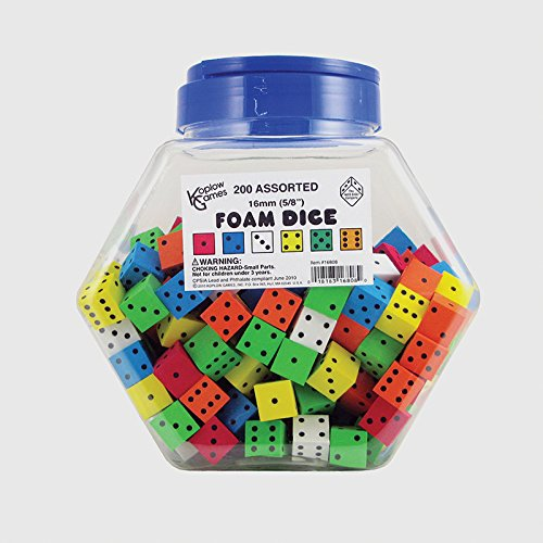 Koplow Games Inc. Assorted Color Spot 16mm Foam Dice Classroom Accessories