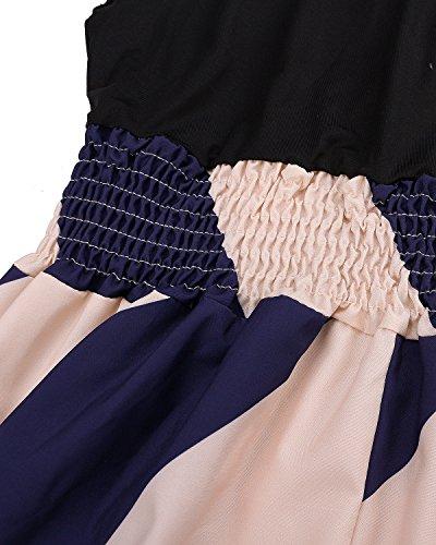 ZANZEA Femme Sexy Rayée Sans Manche épissage Robe de Longue Maxi Cocktail Soirée Noir FR 34-36/Etiquette Taille S