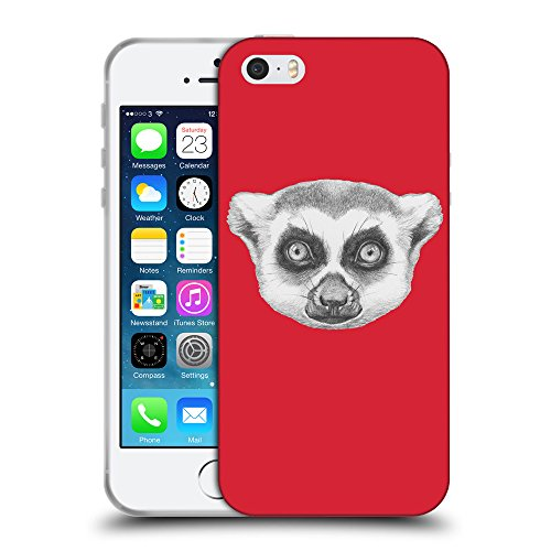 GoGoMobile Coque de Protection TPU Silicone Case pour // Q05390601 Portrait lémurien Alizarine // Apple iPhone 5 5S 5G SE