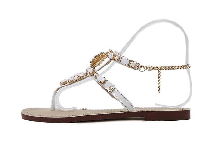 2b341f3735269 DANDANJIE Women s Flip-Flops Flat Diamonds Metal Chain Roman Diamond Sandals   Amazon.co.uk  Shoes   Bags