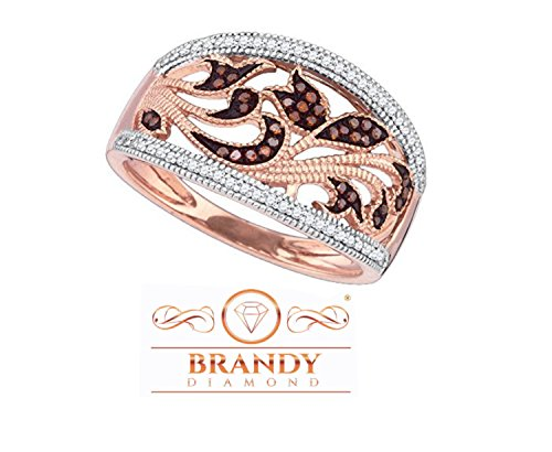 - Brandy Diamond Dark Chocolate Brown 10k Rose Gold Filigree Floral Band Ring 1/4 Ctw.