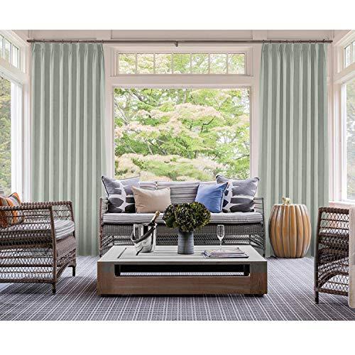cololeaf Pinch Pleated Curtain Solid Room Darkening Patio Door Panel Drape for Traverse Rod and Track Sliding Door Patio Door Living Room Bedroom, Beige Grey 84