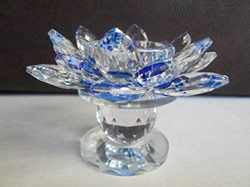 Optical Crystal Rainbow Prism Stunning Pedestal Lotus Flower Votive Candle Holder 3.5