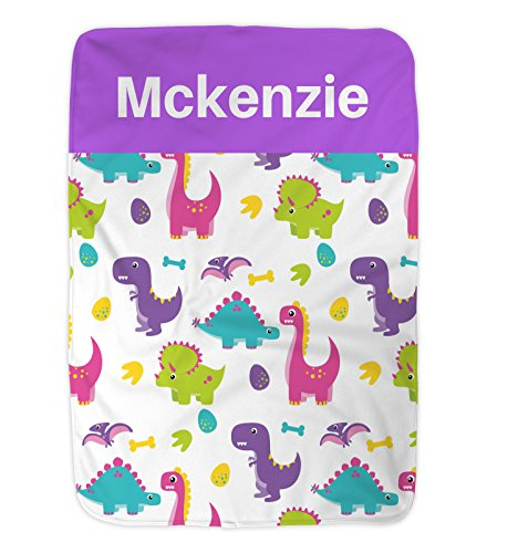 Personalized Baby Blanket, Baby Blanket, Dinosaur Blanket, Super Soft Blanket by Nap Mat Carriers (Purple)