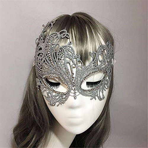 Face mask Shield Veil Guard Screen Domino False Front Halloween mask Dance Party Stereotype Lace Diamond Gold and Silver Phoenix mask Sexy Princess Half face Silver by PromMask (Image #3)